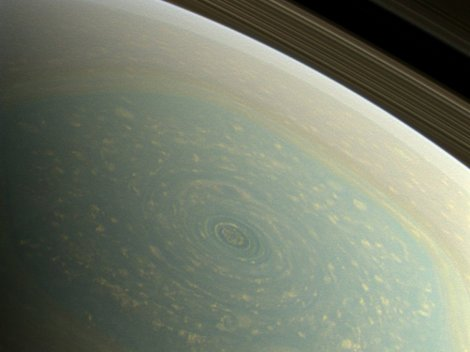 The storm at Saturn's north pole in true color.