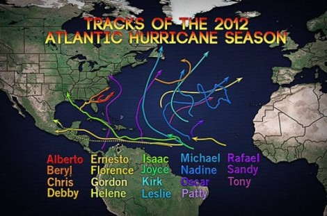 2012 Hurricane Tracks