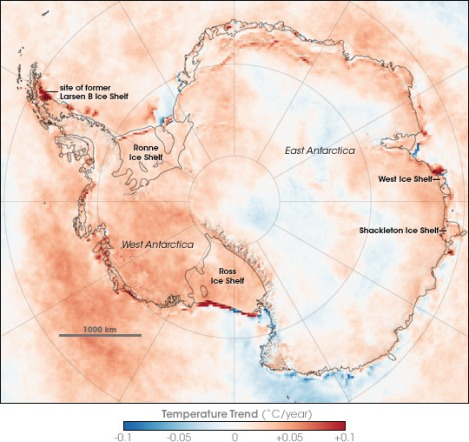 Temperature trends in Antarctica between 1981 and 2007, based on thermal infrared observations made by a series of NOAA satellite sensors. Author: Robert Simmon, NASA Earth Observatory.