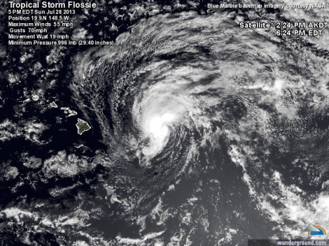 Tropical Storm Flossie as of 5PM EDT on July 28, 2013. It is 430 miles east of Hilo with maximum winds of 55 mph.