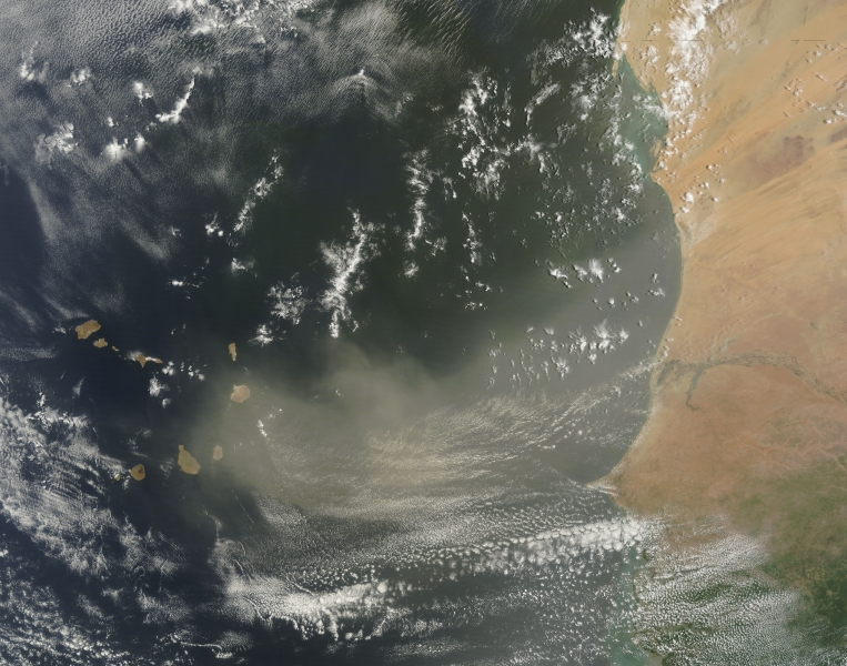 The dust storm as captured by satellite on Monday. The visible island chain is the Canary Islands.