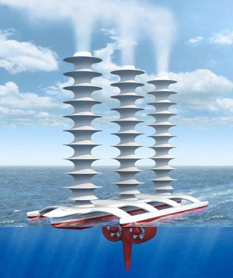 A cloud brightening ship, sucking in ocean water and spraying a fine, salt mist.