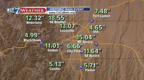 The highest rain totals are just at the edge of the mountains, where air began to rise and released all of its moisture.