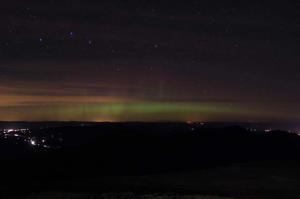 The aurora, as seen from the Mount Washington Observatory in New Hampshire.