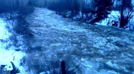 An ice damn on the San Miguel River in Colorado. Photo taken by Bill Masters in Placerville, CO on December 12, 2013. This is an example of a freeze-up dam.
