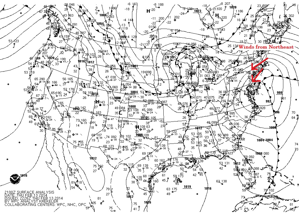 nor'easter surface winds 2/13/14