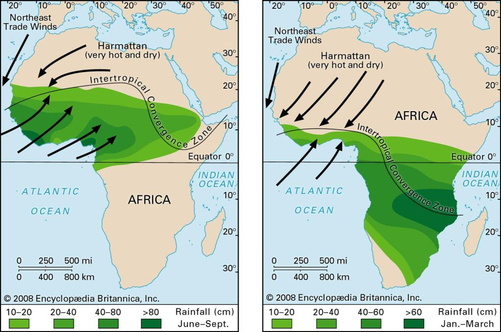 The left image is rainfall during the West African monsoon. It typically begins in late June and will last until October. The right image rainfall during the Northern Hemisphere winter.