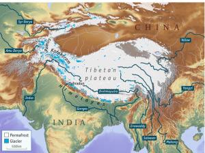 Location of the Tibetan Plateau.