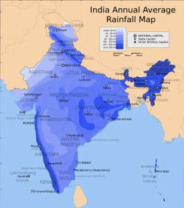Annual rainfall across India. The high totals in the southwest and northeast are almost entirely from monsoon rains.