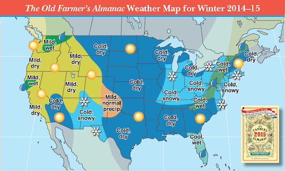 The Old Farmer's Almanac Winter Forecast for 2014-2015