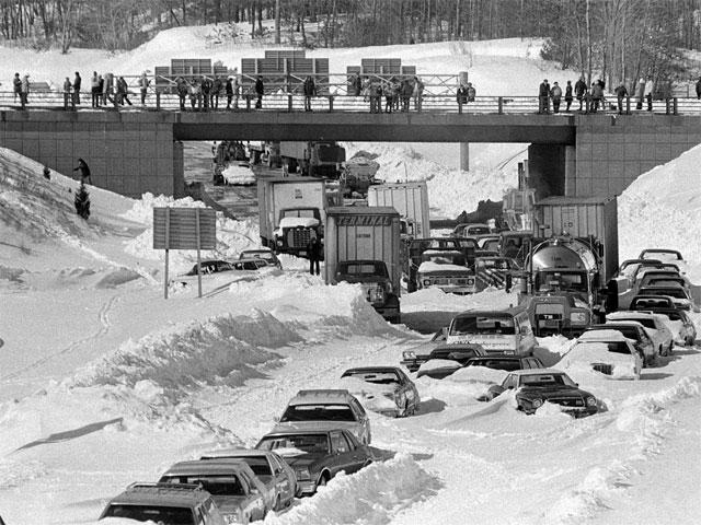 a few of the many, many cars left on Massachusetts highways during the blizzard of '78.