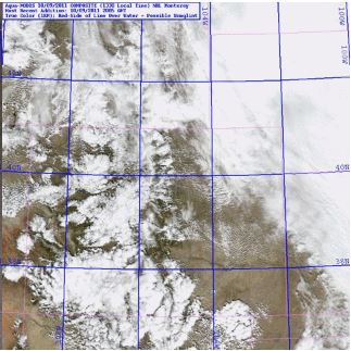 Find the clouds, find the snow. Tricky isn't it. Image from RAMMB: GOES-R Proving Ground Blog at http://rammb.cira.colostate.edu/research/goes-r/proving_ground/blog/index.php/modis-snowcloud-discriminator/modis-snowcloud-discriminator-example/