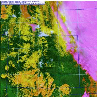 High clouds are magenta, low clouds are yellow/orange, and snow is white. Again this image is from the RAMMB: GOES-R Proving Ground Blog at http://rammb.cira.colostate.edu/research/goes-r/proving_ground/blog/index.php/modis-snowcloud-discriminator/modis-snowcloud-discriminator-example/.