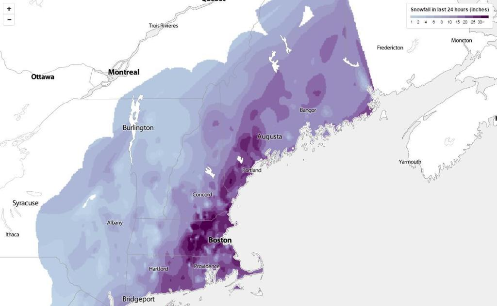 Snow totals from the Blizzard of 2015. Image from The Boston Globe at http://www.bostonglobe.com/metro/2015/01/28/map-snowfall-totals-mass-northeast-from-blizzard/ojjpsPKWPqjuRjoWvRD0PK/story.html