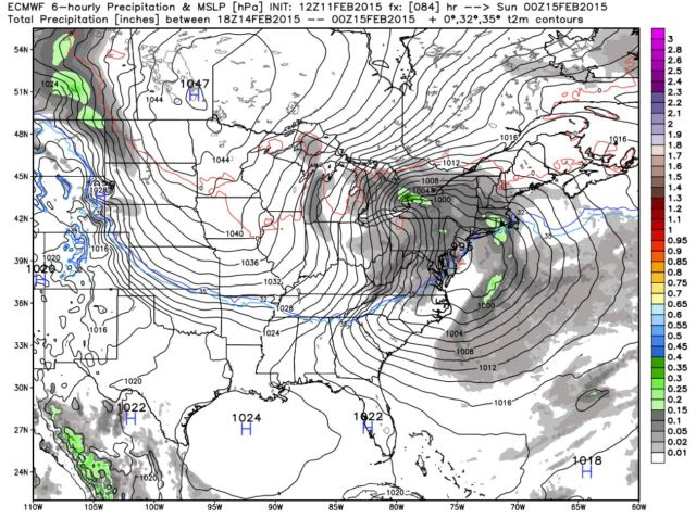 February 15th, 00z (7pm on the 14th): Storm reaches coastline, bands of heavier precipitation appear.