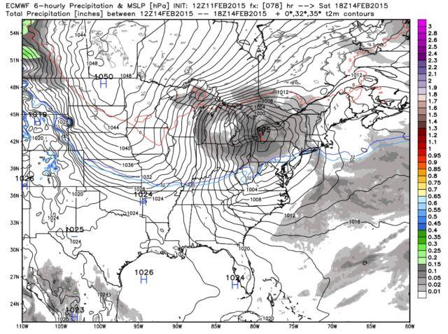 February 14th, 18z (1 pm): Storm centered near Buffalo, light precipitation throughout.