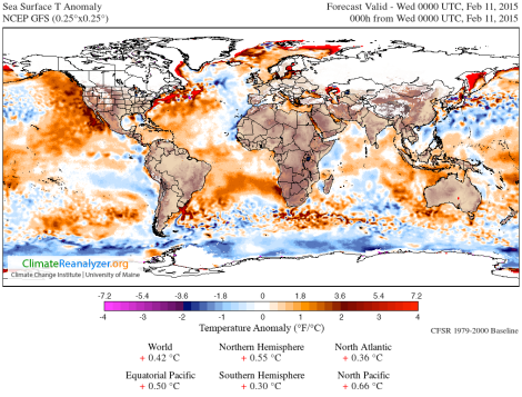 Sea surface temperature anomalies. Temperatures off of New England's coast especially high.