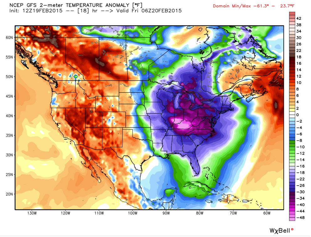 Updated: Temperature Anomaly forecast from the 2/19/2015 12Z European Model Run. Valid overnight. Everything east of Texas is below average (except Northern Maine, lucky them). Over 40 degrees F below average in Kentucky!