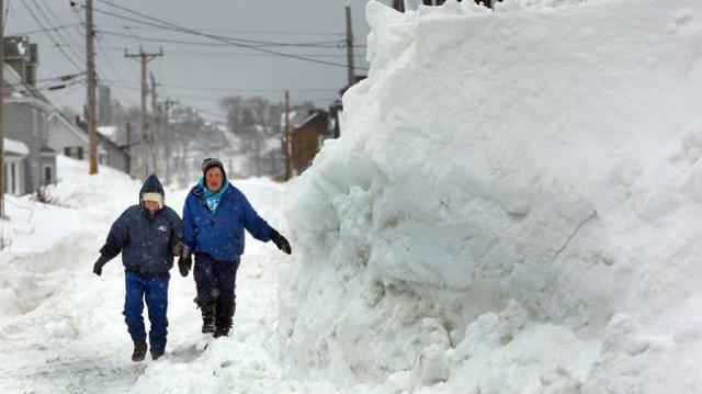 A pile of snow in Hull, MA. Image from Boston.com